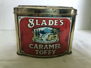 """Vintage SLADE'S CARAMEL TOFFY, """"toffee"""" Tin made in England"""