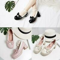 Womens Girls Bowknot Mid Block Heel Ankle Strap Lolita Mary Janes Cosplay Shoes