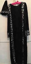 ADULT MEDIEVAL RENAISANCE BLACK & SILVER PANNE 2 PC WIZARD MAGICIAN COSTUME-NEW