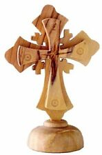 Small Olive Wood Jerusalem Cross on Pedestal