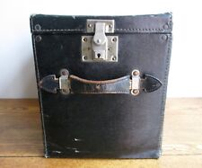 Vintage Black Embossed-Cloth Large Rectangular Hat Box -Storage- Prop