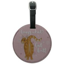 Guess What Cat Butt Round Leather Luggage Card Suitcase Carry-On ID Tag