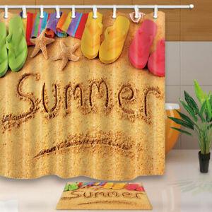 Summer Beach Starfish Slippers Fabric Shower Curtain Bathroom Waterproof 71 Inch