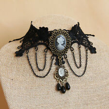 Gothic Choker Collar Victorian Lace Lolita Tassel Steampunk Pendant Necklace