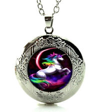 Rainbow Unicorn Horse Locket Necklace with a Gift Box 24
