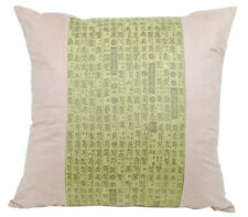 NEW Cushion Pillow Asian Writing Oriental Design Faux Suede Green Sofa Home Deco