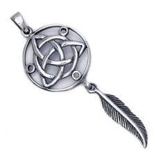 .925 Solid Sterling Silver Triquetra Dreamcatcher Plume Pendentif Amulette P020