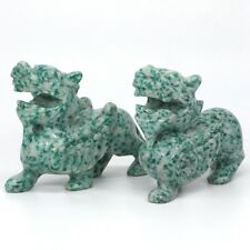Kirin Figurine Green Spot Jasper Carved Gemstone Animal Totem Statue Stone Decor