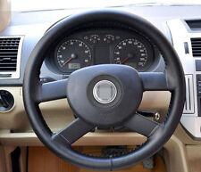 New DIY Universal Steering Wheel Cover 37-38cm Genuine Leather Cowhide Black