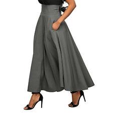 Vintage Women Stretch High Waist Plain Skater Flared Pleated Long Skirt Dress