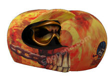 Skin On Fire Helmet Cover AND Goggle Lens Sticker Motorcycle Skin MX Dirt Bike +