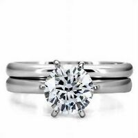 Stainless Steel Round  CZ Solitaire Wedding Engagement Promise Band 2 Ring Set