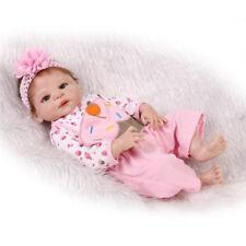 "Real Like 22"" Full Silicone Reborn Baby Girl Repainted Newborn Dolls Waterproof"