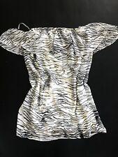 NWT bebe black beige contrast off shoulder ruffle sheer tunic top M Medium