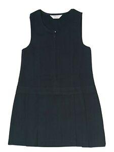 NEW Girls Navy Blue School Pinafore Dress Uniform M&S Pleat Zip Marks & Spencer