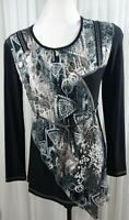 Bali Women's Tunic Top Long Sleeve Round Neck Front Tie Made In Canada Size S.
