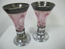 ANTIQUE  PINK GLASS SILVER PLATED E & J B BRADBURY CANDLE STICK HOLDERS / VASES