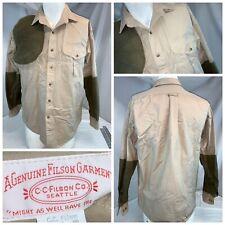 CC Filson Shooting Shirt M Men Tan Green Pad All Cotton Button LNWOT YGI A0-617