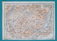 """DENMARK Copenhagen City Center Plan - 1912 Baedeker Map 4.5 x 6"""" (11 x 15)"""