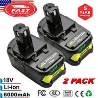 2X 6.0Ah 18V Lithium-Ion Battery For Ryobi P108 ONE+ Plus P105 P107 P109 Tool EG