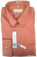 Macys Geoffrey Beene Copper Sienna Sateen Wrinkle Free Cotton Blend Dress Shirt