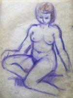 Sitzender weiblicher Akt 50er 60er Jahre Midcentury Modern Art 53 x 40 auf Velin