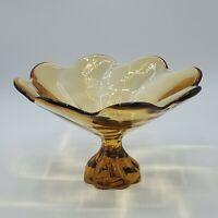 "Vintage Viking Art Glass Amber Flower 8.5"" Bowl Dish Pedestal Mid Century NICE"