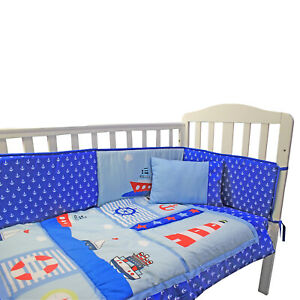 Complete Baby Nursery Cot Bedding Set Fitted Pillow Sheet Boat Duvet Bumper