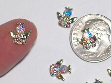 2 Pc Miniature dollhouse tiny Flatbacks crystal rainbow Golden Angel wing craft