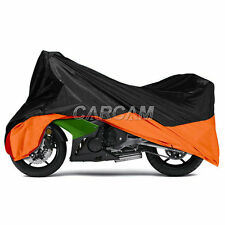 Black/Orange Outdoor Motorcycle Cover For Harley Davidson Dyna Wide Glide XL