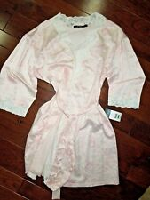 Lauren Ralph Lauren Robe pink floral satin wrap knee length  lingerie LARGE L