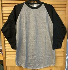 VTG Bantams T-Shirt Ringer Raglan Blank Plain Lg Black/Gray 70's USA NOS