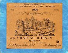 MARGAUX 3E GCC ETIQUETTE CHATEAU D' ISSAN 1986 75 CL RARE  §15/08§