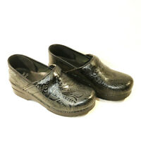 DANSKO Black Tooled Leather Embossed Nursing Clogs Shoes Size 38 Womens Stapled