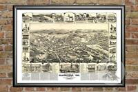 Old Map of Rochester, NH from 1884 - Vintage New Hampshire Art, Historic Decor
