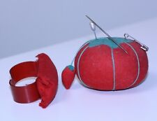 Vintage lot 2 Strawberry & wrist Pin Cushions little strawberry still attached