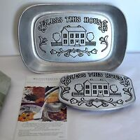 New RWP Wilton Bless This House Bread Tray & Trivet Primitive Dish Serving Dish