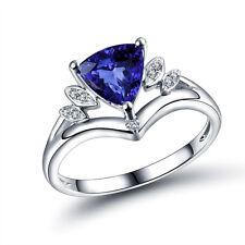 18K White Gold Engagement Wedding Trillion 7x7mm  Tanzanite & Diamond Fine Ring