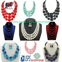 US Women Jewelry Chunky Statement Bib Pendant Chain Choker Necklace&Earring Set