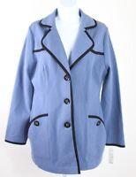Pendleton women's large periwinkle blue black knit blazer jacket collar pockets