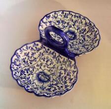 Vintage Blue & White Chinese Porcelain  Double Shell Shape Serving Dish C.1990s
