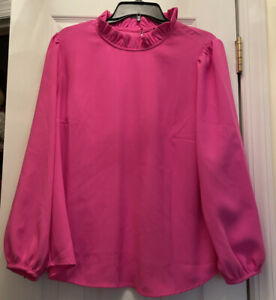 J Crew Long-sleeve ruffle-neck top in crepe- Neon Berry XL