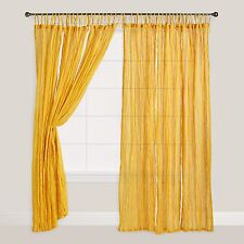 Golden Yellow Tie Top Crinkle Voile Curtains, Set of 2 from World Market
