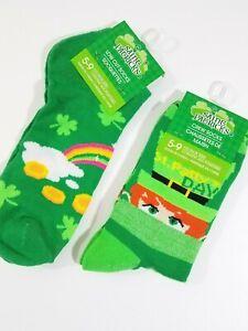 St Patricks Day Novelty Socks Green Leprechaun & Rainbow 2 Pair Shoe Size 5-9