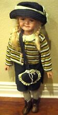 "36"" Porcelain Doll with Blue Eyes,Blond Hair,Jean Skirt,Striped Shirt,Purse,&Hat"