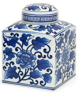 "9"" Tall Blue & White Asian Floral Lidded Jar New Burleigh-Style 100% Ceramic"