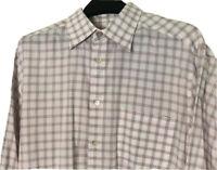 Ermenegildo Zegna Men's Large ITALY LINEN Button Up Check Shirt- Blue Red