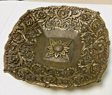 """Vintage Ornate Brass Square Candy Trinket Dish *Made in Italy"""" C_.T_ 3"""