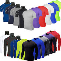 Mens Under Base Layer Skin T-Shirt Compression Sports Gym Cycling Tight Top Tee