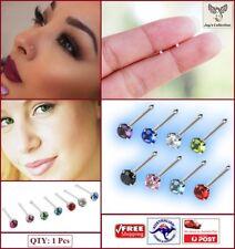 1 Pc Straight Post Crystal Nose Pin Stud Piercing Multicolor 1.2mm [B0M~B28]